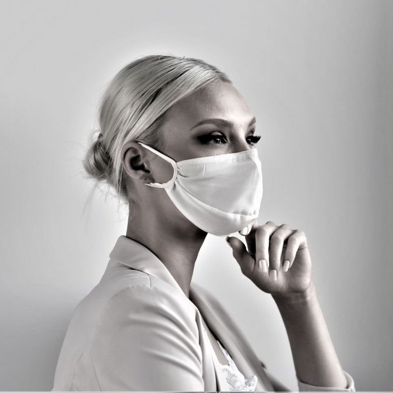 Triple Layer Silk Face Mask With Adjustable Straps, Nose Wire & Filter Pocket In Ivory image