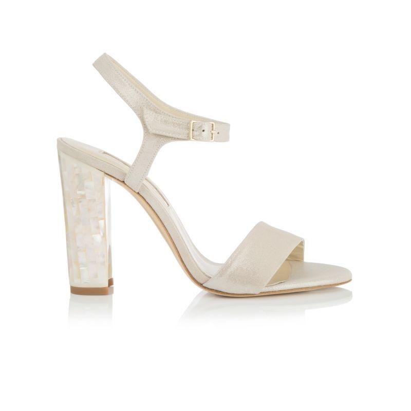 Martina - Block Heel Sandal In Shimmering Champagne Suede image
