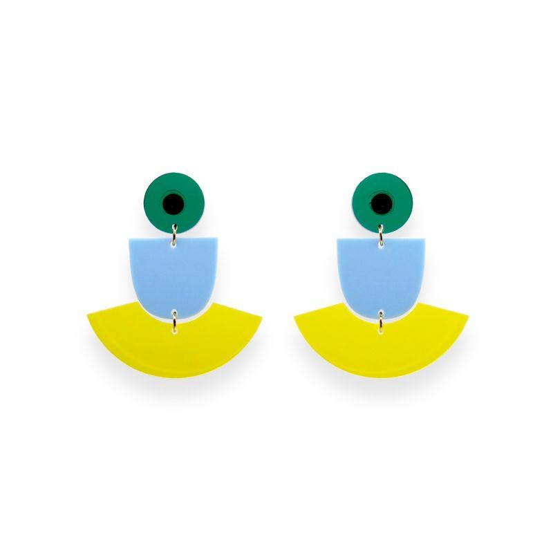 Skirt Emerald, Pastel Blue, Yellow Earrings image