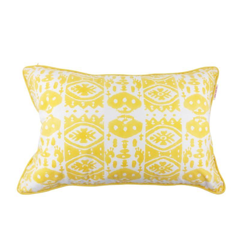Blockprinted Cotton Cushion in Yellow - 60cm x 40cm image