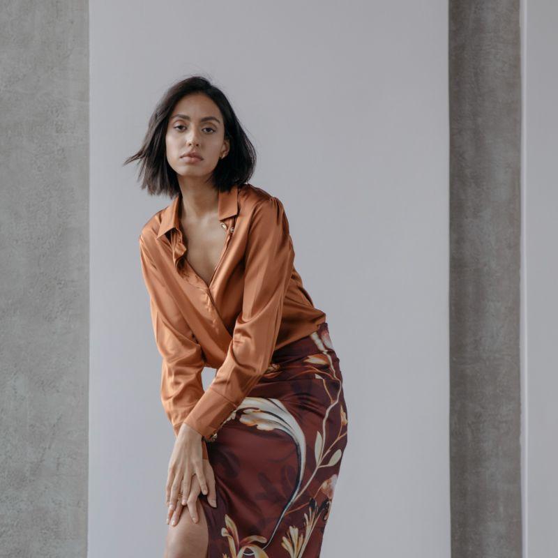 Miranda Classic Silky Shirt in Burnt Orange image