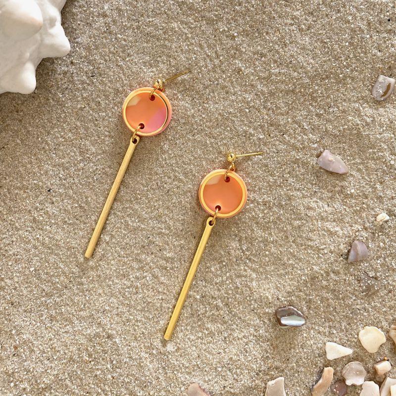 Rise Drop Earrings in Peachy Terrazzo & Gold image
