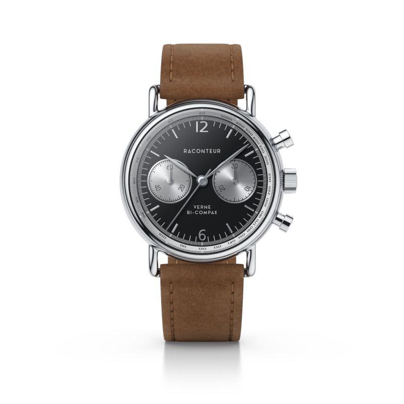 Verne Bi-Compax Silver Black - Cognac Suede image