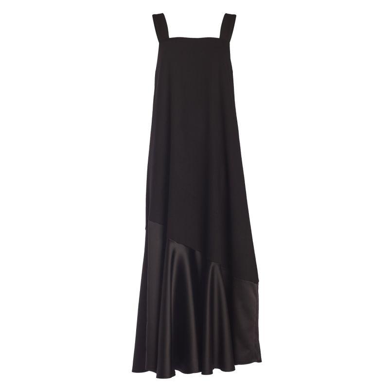 Square Neck Satin Ruffle Detail Midi Dress image