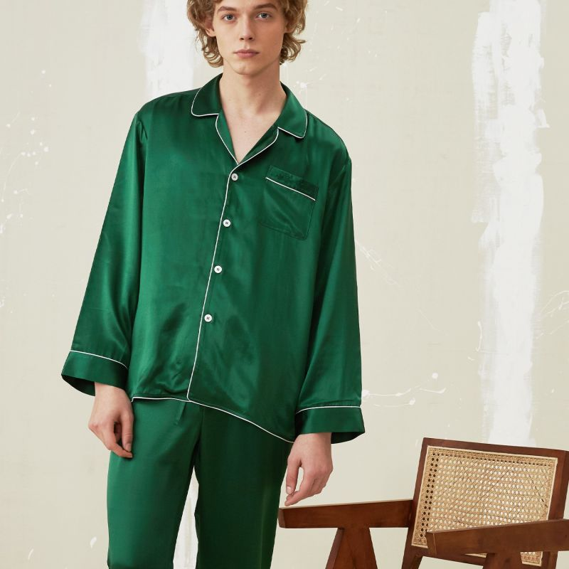 Men'S Silk Essentials Pajama - Dark Green image