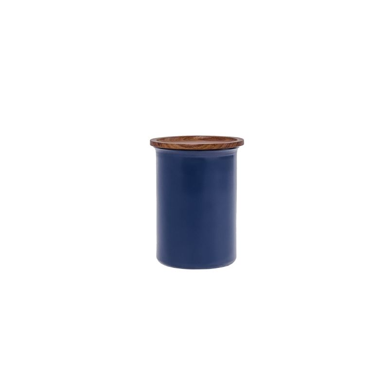 Ayasa Blue Jar With A Wooden Lid, 0.75L image