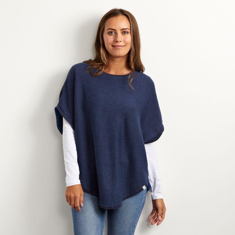 Flora Cotton Cashmere Reversible Poncho Navy & Blue image