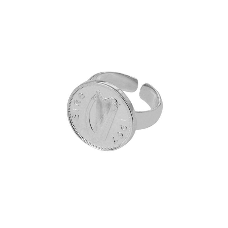 Irish Harp Adjustable Ring Silver image