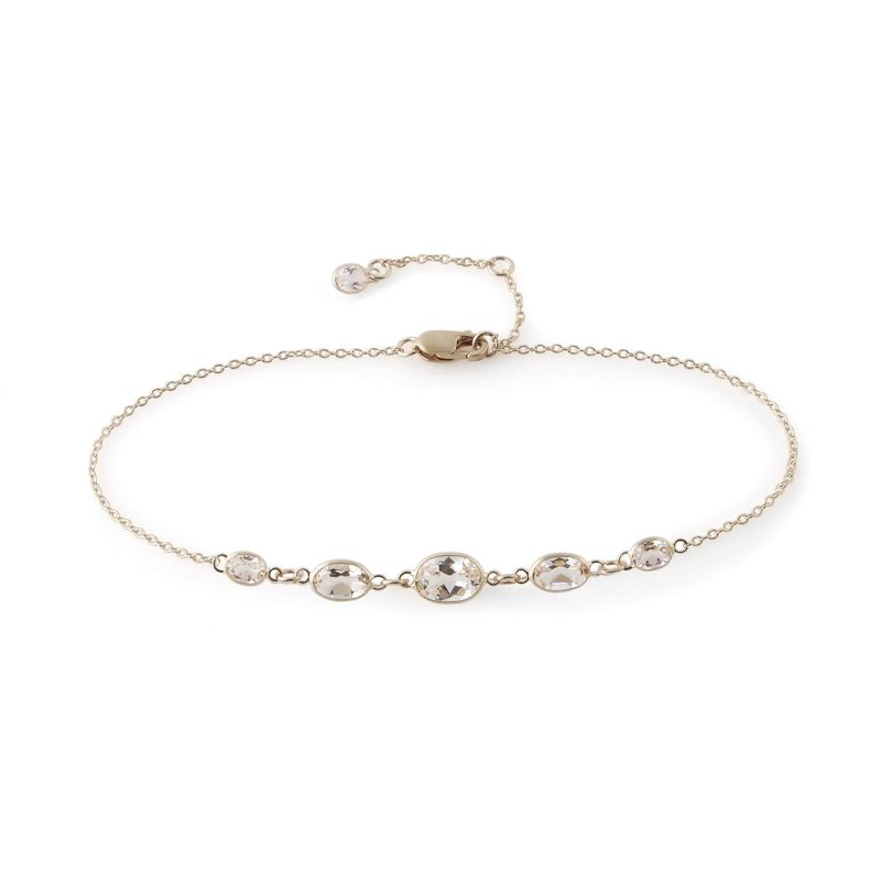Five Stone Bezel Set White Topaz Bracelet In 14 Karat White Gold image