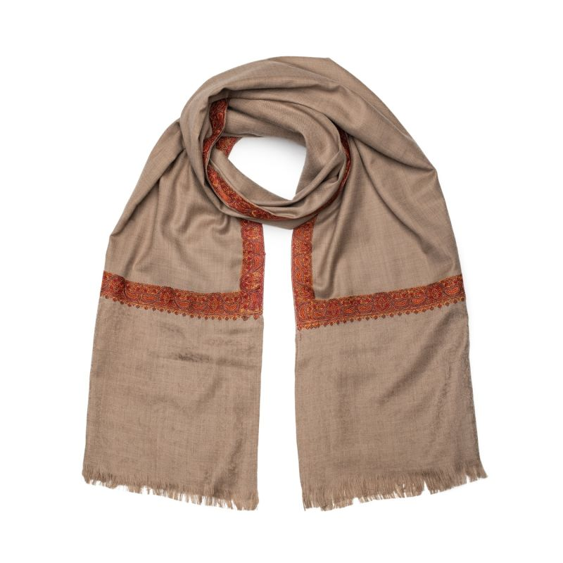 Sahara Pure Cashmere Embroidered Scarf and Shawl image