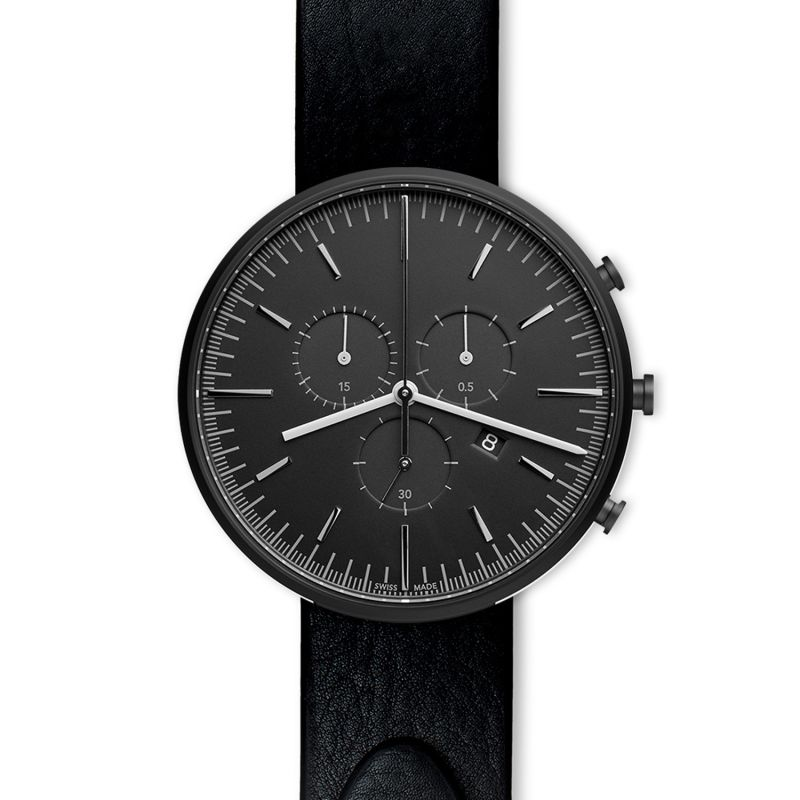 Men's M42 Precidrive Chronograph Watch In PVD Black With Nappa Black Leather Strap image