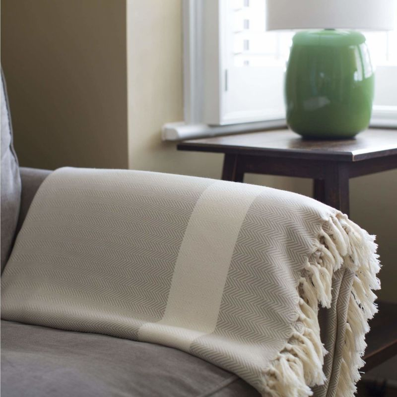 Ferah Herringbone - Organic Cotton Blanket - Moss image