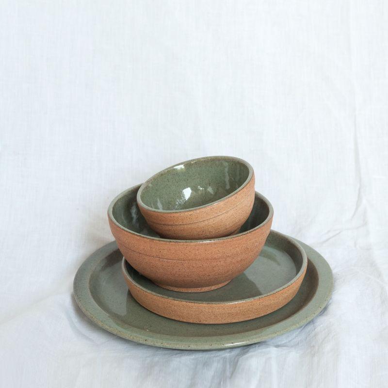 Dewi Ceramic Soup & Rice Bowl - Natural Earth Green image