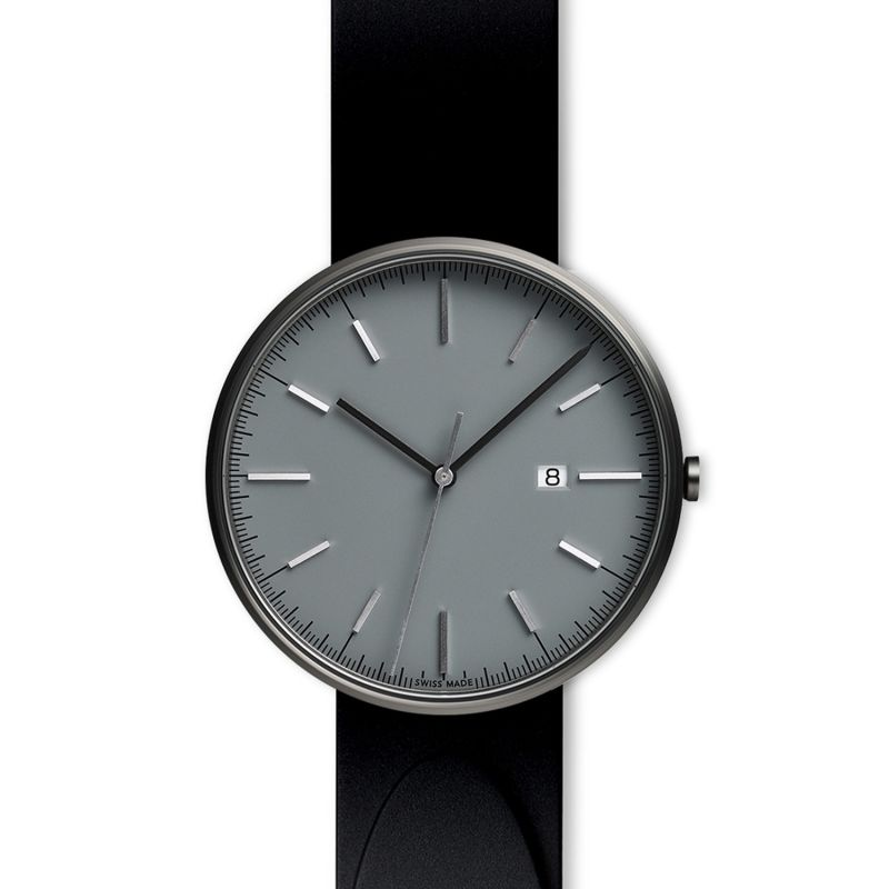 Men's M40 Precidrive Three-Hand Date Watch In PVD Grey With Nitrile Black Rubber Strap image