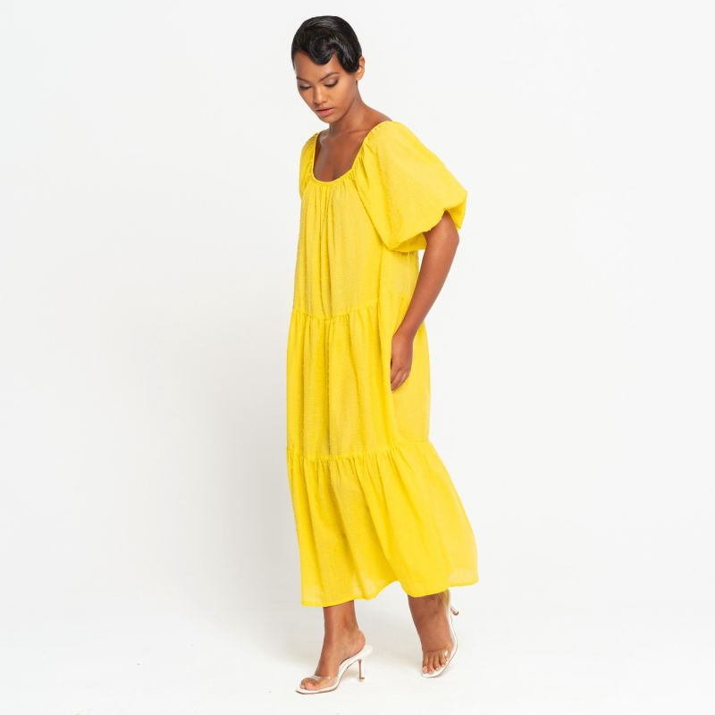 ROSEMARY Dotted Cotton Dress, in Sunflower Yellow image