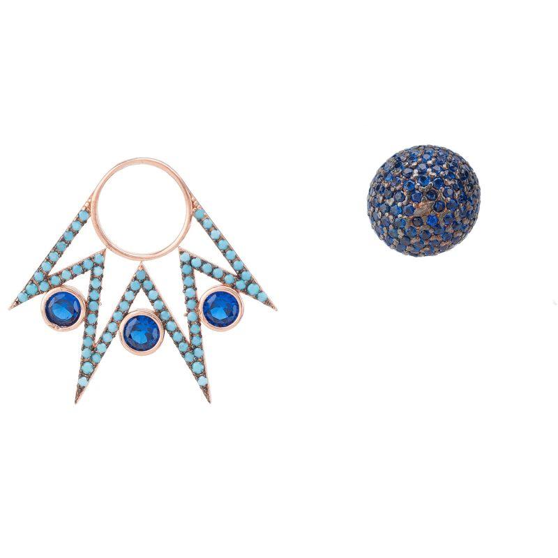 Jester Ear Jacket Convertible Earrings Blue Rosegold image