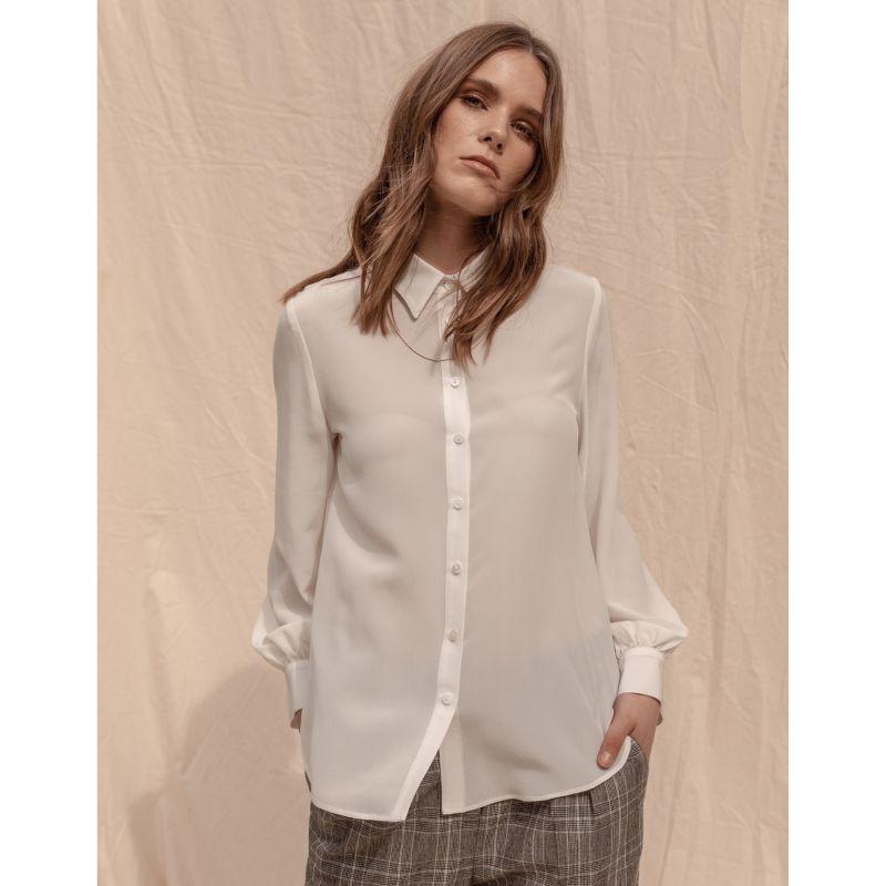 Manhattan 100% Silk Shirt - Off White image