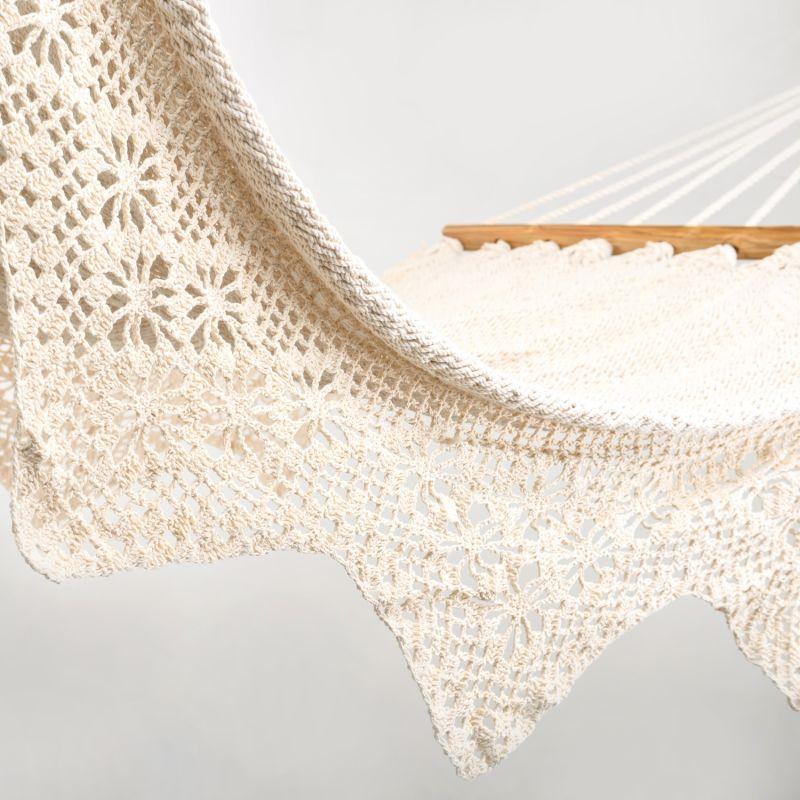 Boho Natural Cotton Hammock with Geometric Fringe (Teak Wooden Bar) image