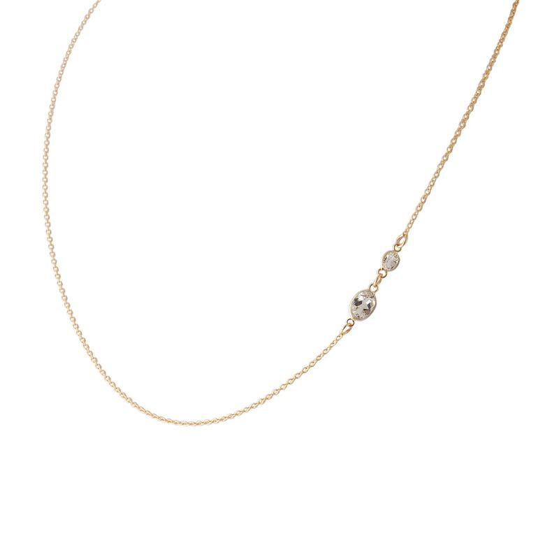 Two Stone Bezel Set White Topaz Necklace In 14 Karat Yellow Gold image