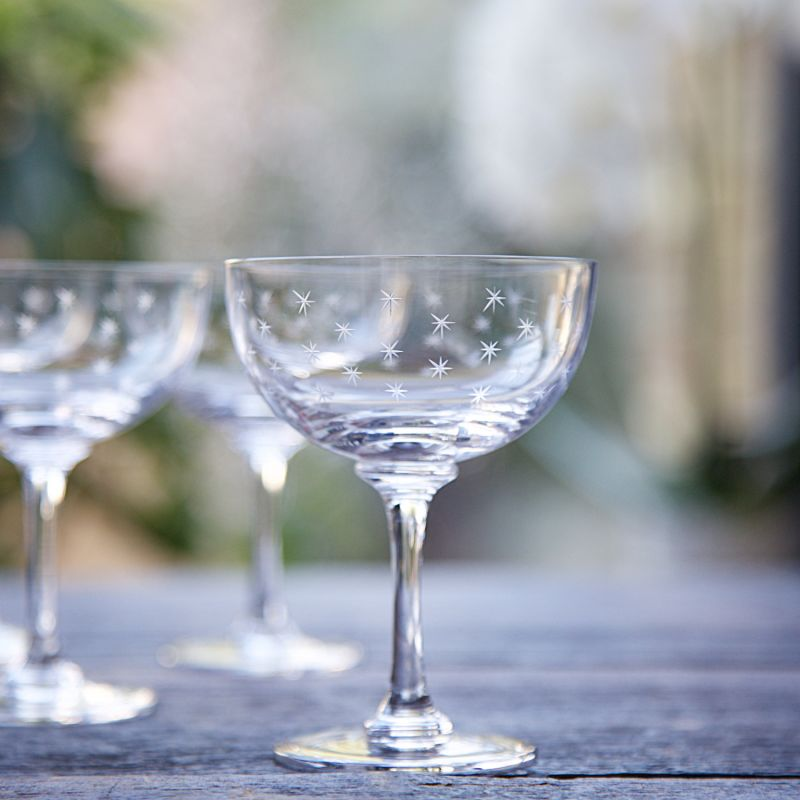 Six Hand-Engraved Crystal Champagne Saucers With Stars Design image