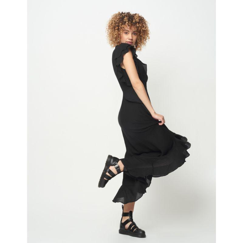Abena Textured Crepe Black Midi Dress image
