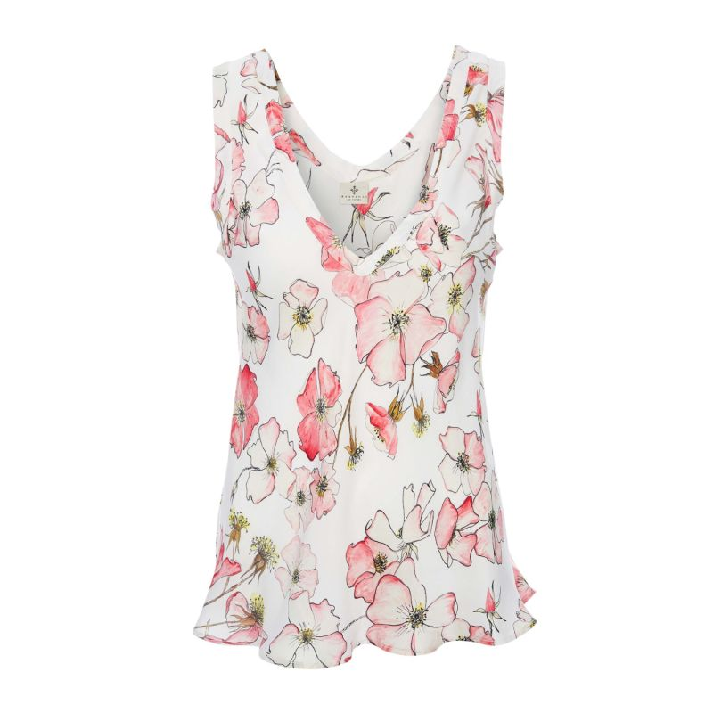 Silk Camisole Top In Pink Rose image