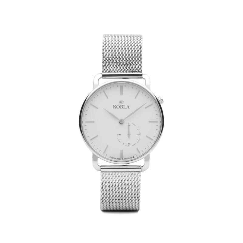 Strap Watch - Silver Case, White Dial & Silver Mesh image