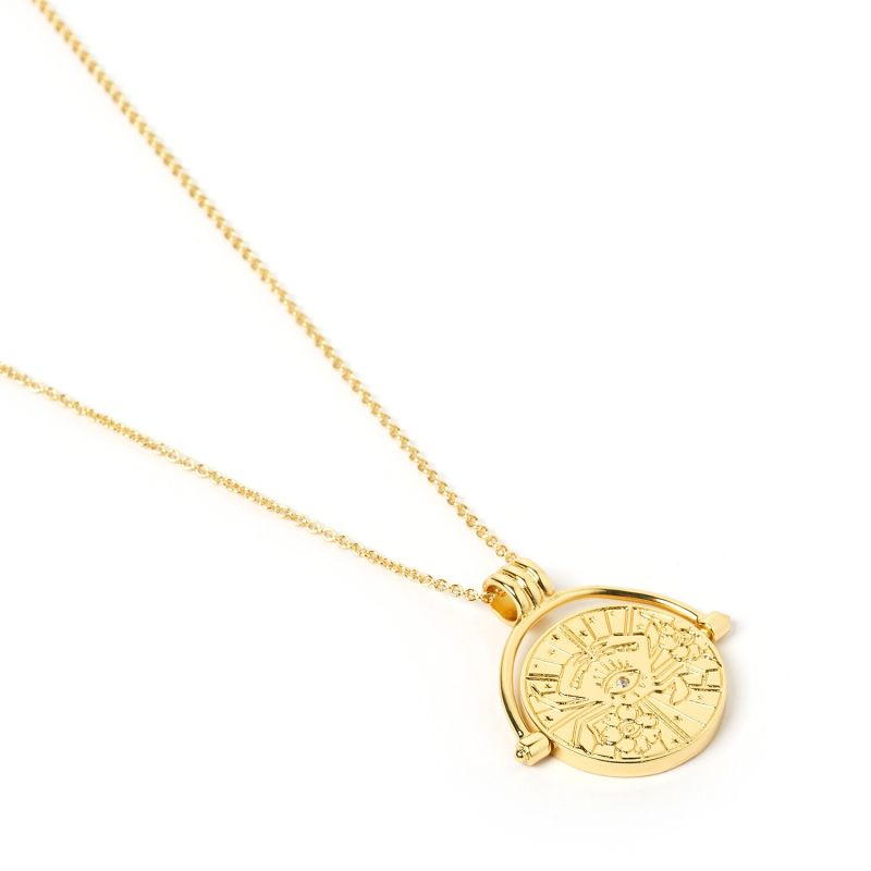 Cancer Zodiac Gold Spinner Necklace image