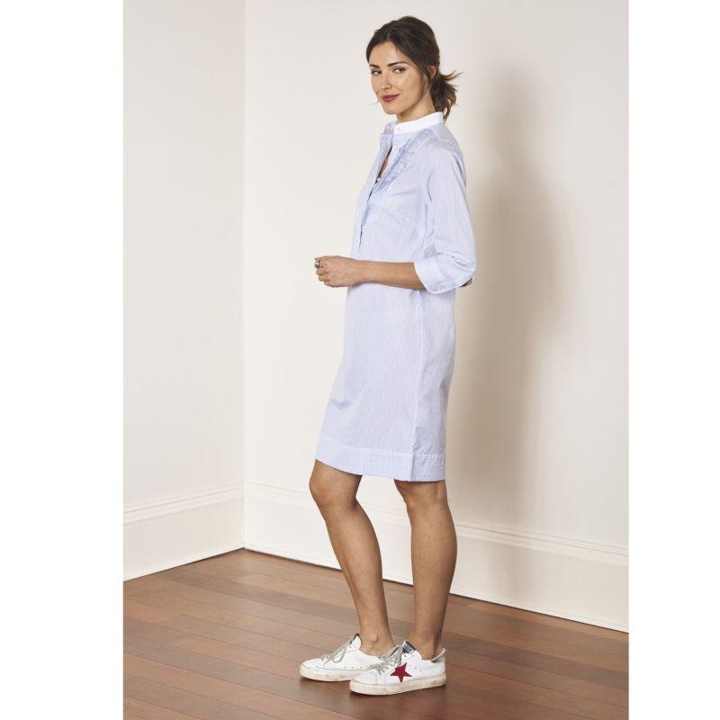 Shirtdress - Tuxedo Bib, Mandarin Collar And Hidden Design Details In Poplin Cotton - Laurie image
