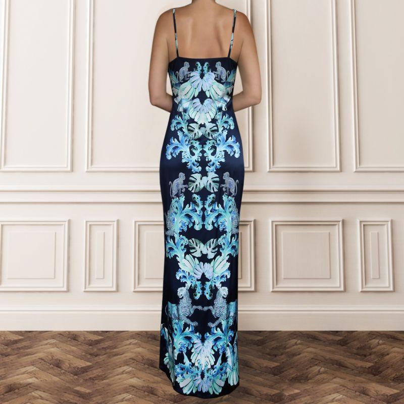 Silk Slip Dress - Navy With Aqua Jungle Print image