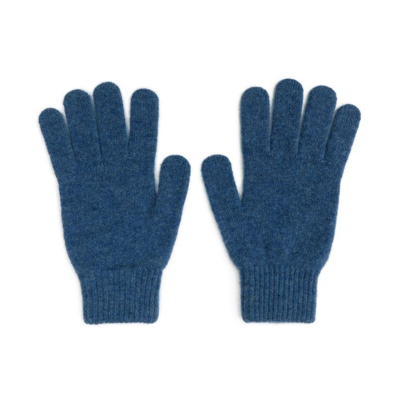 Men's Lambswool Knit Gloves In Denim Blue image