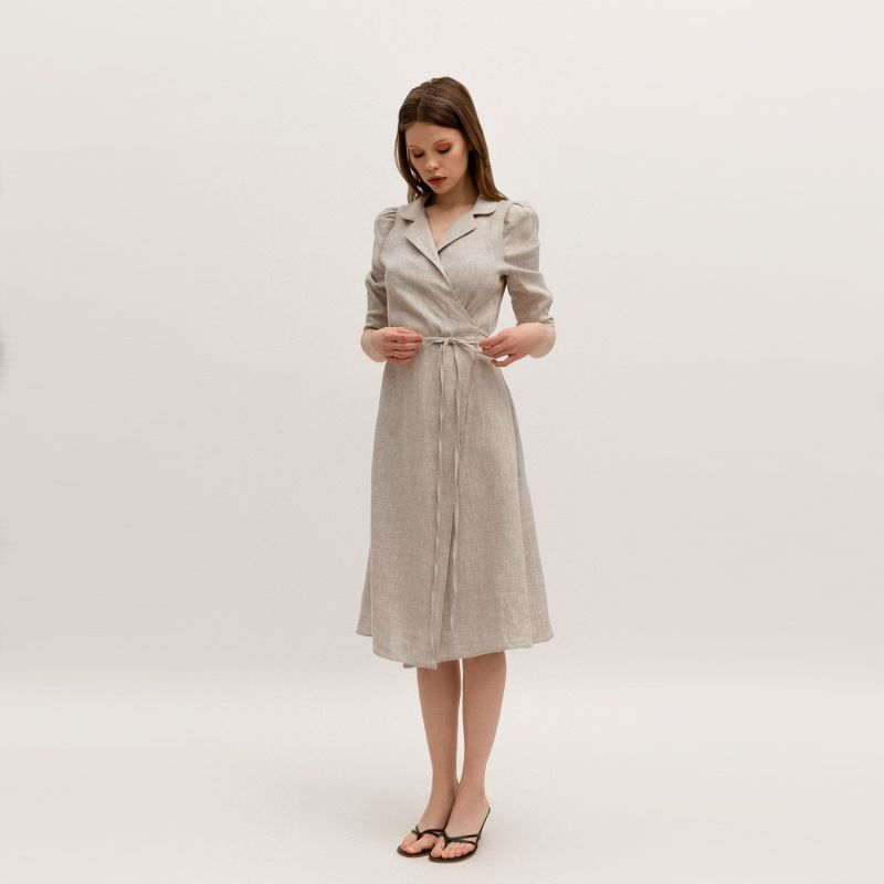 French Linen Wrap Midi Dress In Natural Colour image