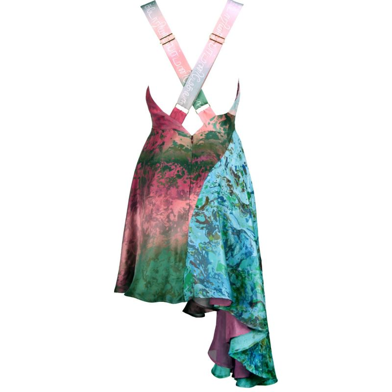 Zuka Printed Silk Pinafore Dress Red image