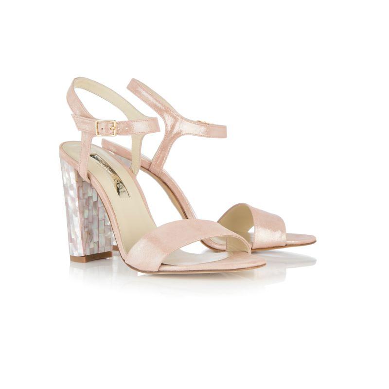 Martina Rosa - Block Heel Sandal In Shimmering Rose Pink Suede image
