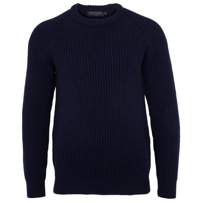 Mens 100% British Wool Heavyweight Ribbed Jumper Navy image