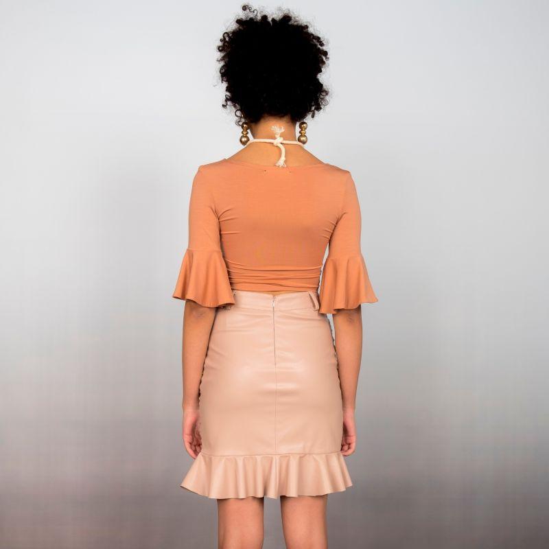Ruched Vegan Leather Mini Skirt image