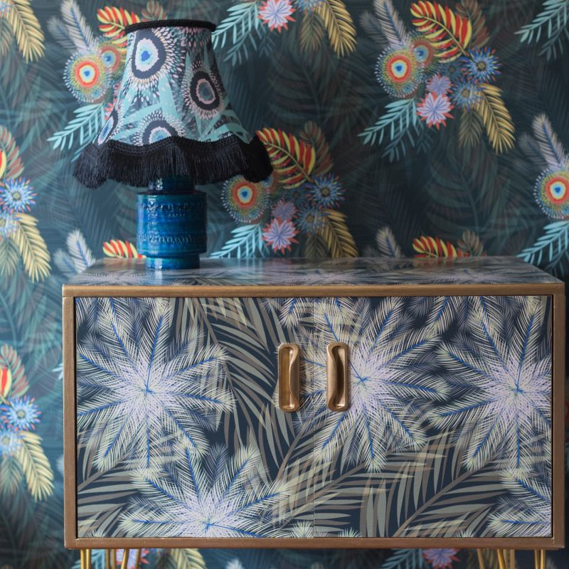 Bloom Print Satin Traditional Fringed Lampshade 30x36cm image