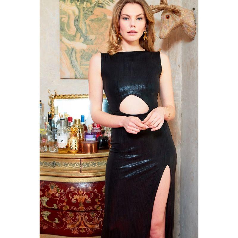 Moss Black Metallic Cut Out Bodycon Maxi Dress image