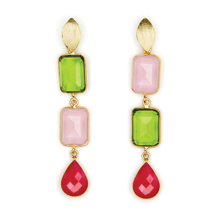 Three Drop Deconstructed Gems Cocktail Earrings image