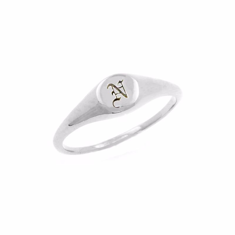 Mini Initial Signet Ring Silver image