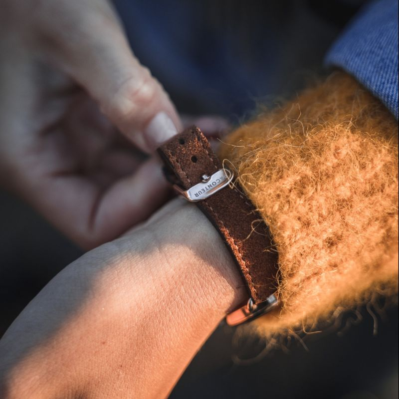 Earhart Rose Gold White - Tan Leather image