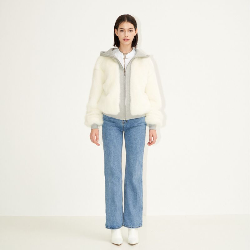 Puffy Duffy Zip-Up Faux Fur Hoodie Bomber White image