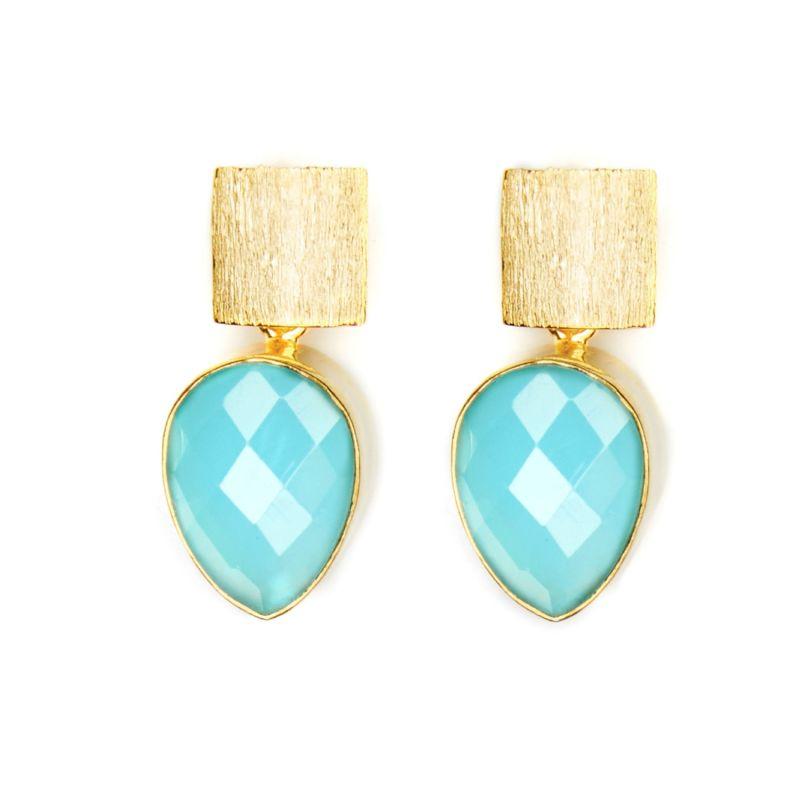 Blue Chalcedony Teardrop Earrings image
