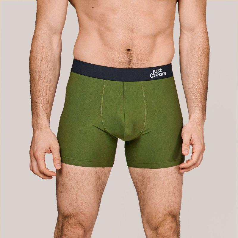 Super Soft Boxer Briefs - Anti-Chafe & No Ride Up Design - 3 Pack (Grey, Green & White) image