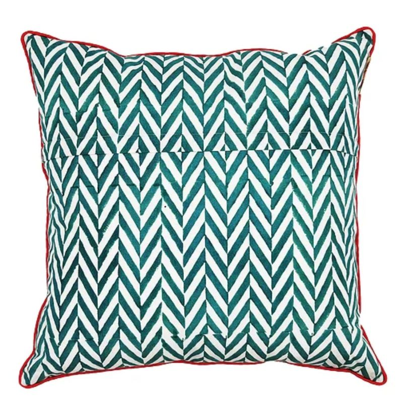 Thrive Large Cotton Cushion With Pink Piping image