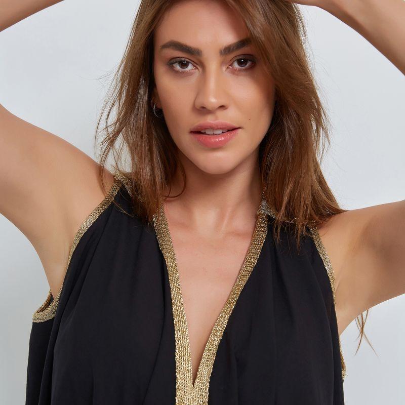Wrap Organic Cotton Vest in Black image