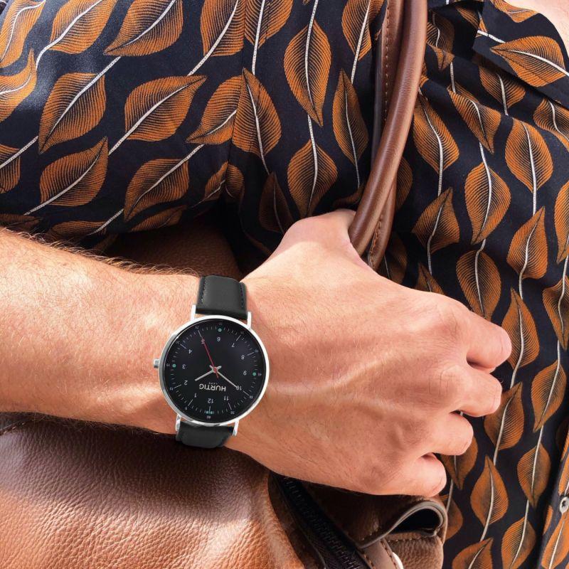 Moderno Vegan Leather Watch - Silver & Black image