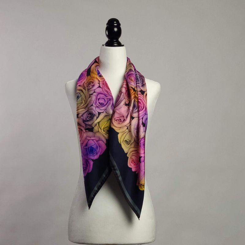 100 Rainbow Roses Silk Scarf- Square image