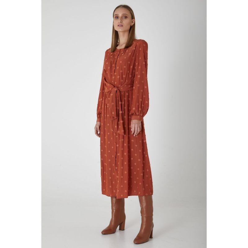 Long Sleeve Midi Claremont Dress - Rust image