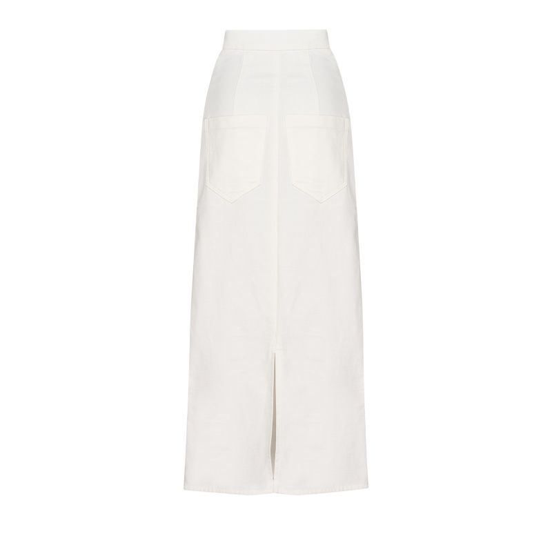 High-Waisted Skirt With Back Slit - White image
